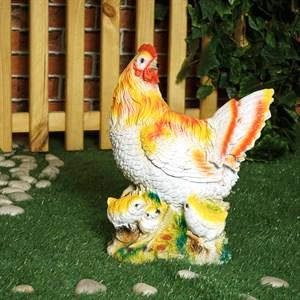 Курица с цыплятами декоративная фигура