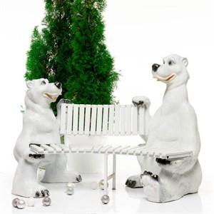 Скамейка медведи